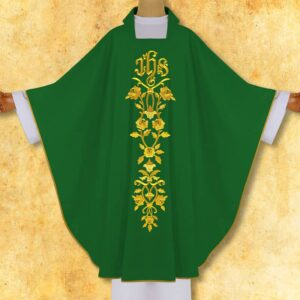 "Chasuble embroidered ""IHS with roses"""