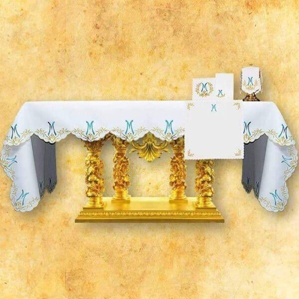 Obrus haftowany Ave Maryja Niebieski