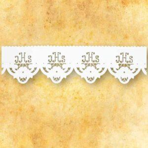 """Koronka haftowana """"IHS Ażurowy"""" biała"""