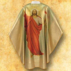"""Ornat foto złoty """"Jezus Zmartwychwstały"""""""