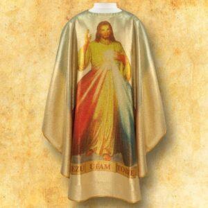 """Ornat foto złoty """"Jezus Miłosierny"""""""