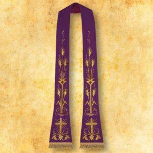 """Stuła haftowana rzymska """"Krzyż z kłosami"""""""