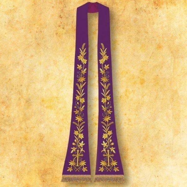 """Stuła haftowana rzymska """"Krzyż z kwiatami"""""""