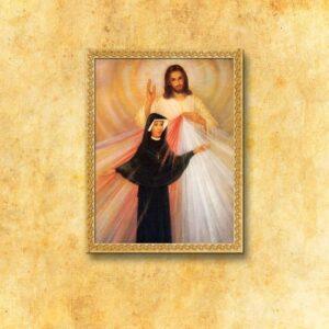 """Obraz na tkaninie """"Jezus Miłosierny i Św. Faustyna"""""""