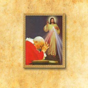 """Obraz na tkaninie """"Św. Jan Paweł II i Jezus Miłosierny"""""""