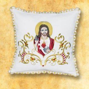 "Poduszka procesyjna ecru ""Serce Jezusa"""
