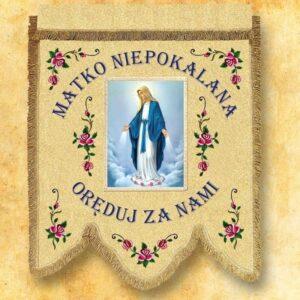 Chorągiew dwustronna haftowana z wizerunkiem Matki Niepokalanej