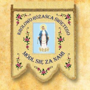 Chorągiew dwustronna haftowana z wizerunkiem Matki Bożej Różańcowej