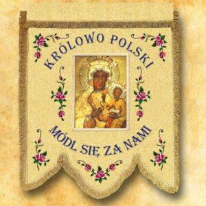 Chorągiew dwustronna haftowana z wizerunkiem Matki Bożej Królowej Polski