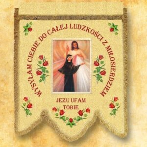 Chorągiew dwustronna – Św. Faustyna i Jezus Miłosierny