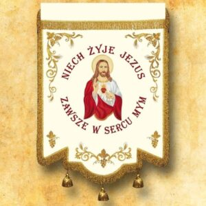 Chorągiew haftowana- Serce Jezusa