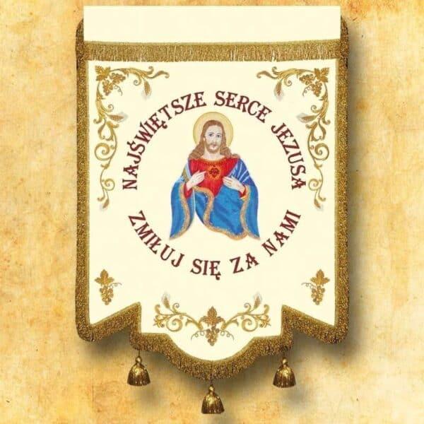 Chorągiew haftowana - Serce Jezusa
