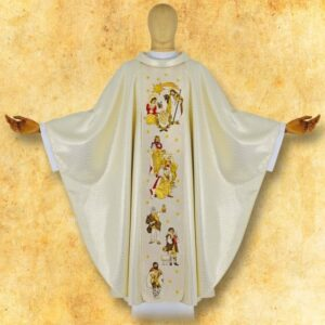 "Chasuble embroidered ""Bethlehem"" sepia"