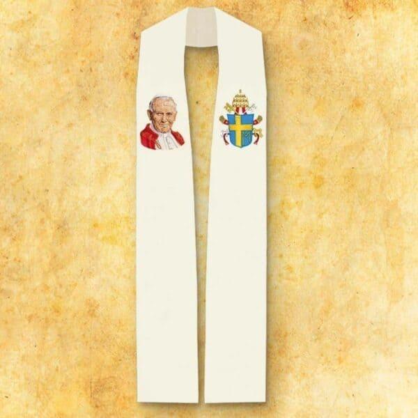 """Stuła haftowana """"Jana Pawła II"""" wizerunek haftowany (mały)"""