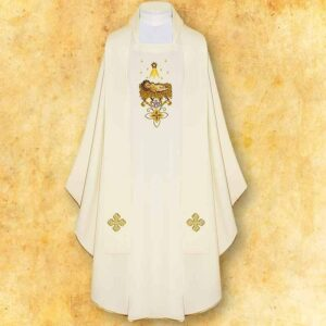"Chasuble embroidered ""In Manger lies"""