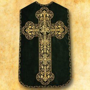 """Ornat haftowany rzymski """"Krzyż z IHS"""" zielony"""
