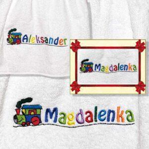 Ręcznik haftowany dla dzieci z imieniem