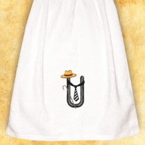 "Embroidered Towel for men ""U"""