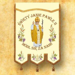 Chorągiew haftowana z wizerunkiem Św. Jana Pawła II