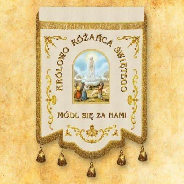 """Chorągiew haftowana """"Królowej Różańca Świętego"""" z dowolnym napisem"""