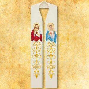 """Stuła haftowana """"Serce Jezusa i Maryji"""""""