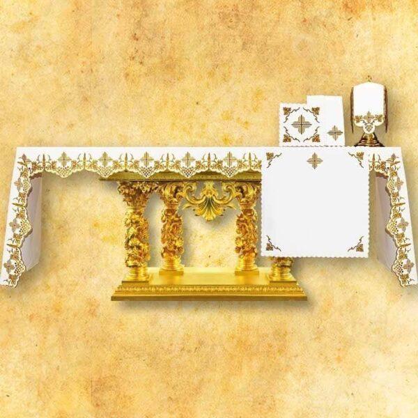 Obrus haftowany Złoto - Brązowy