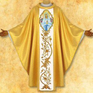 """Ornat złoty z haftowanym pasem """"Madonna di Lourdes"""""""