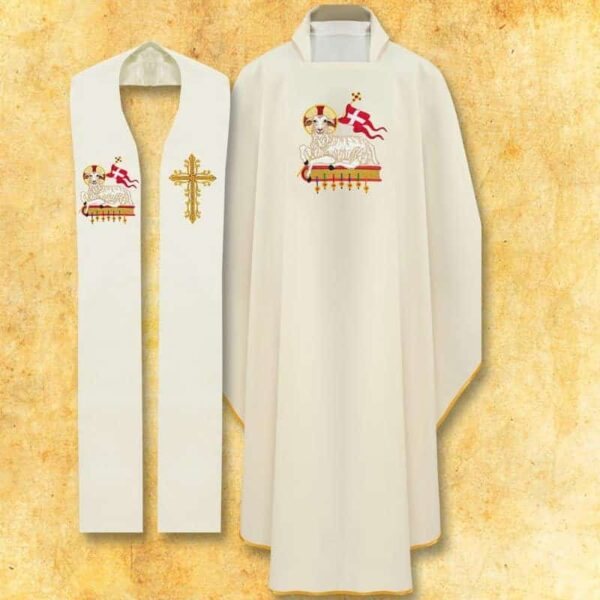 Set of chasuble and stole lamb