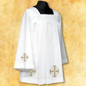 """Komża haftowana """"Krzyże Jerozolimskie"""" białe"""