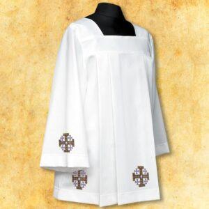 """Komża haftowana """"Krzyże Jerozolimskie"""" fioletowe"""