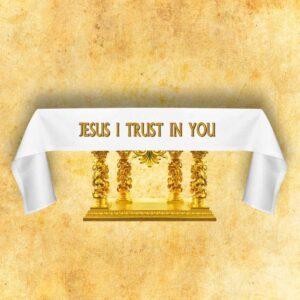 """Obrus ołtarzowy haftowany """"Jesus I Trust In You"""""""