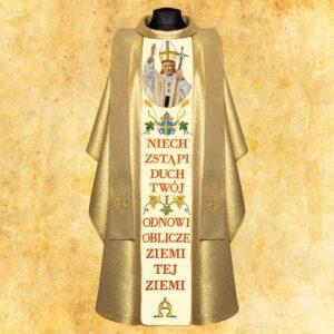 Ornat haftowany złoty z wizerunkiem Św. Jan Paweł II