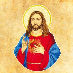 """Die gestickte Applikation """"Herz Jesu""""."""