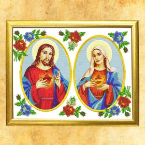 """Obraz w oprawie szklanej z wizerunkiem haftowanym """"Serce Jezusa i Maryji"""""""